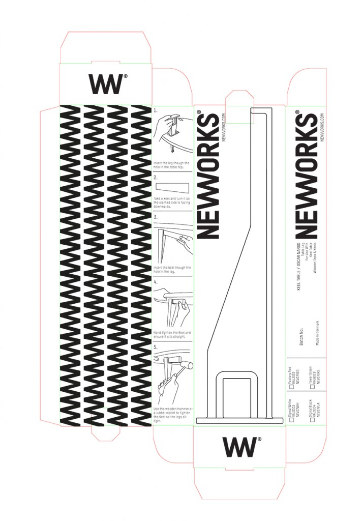 Keel table leg packaging design that I made to include printed assembly instructions.