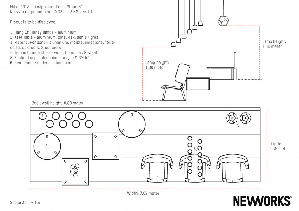 My stand design and layout plan for the Nevvvorks / New Works stand at the Design Junction in Milan in 2013