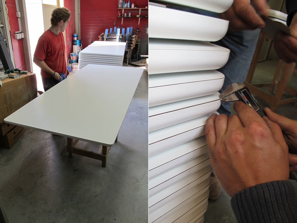 The white laminate version of the table required a very precise and even black edge, something that had to be really watched and controlled on my visit.