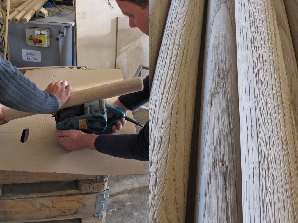 One of the biggest challenges on the Raft Table was achieving the eroded, open grain surface on the oak legs. Sandblasting had proven effective but it left behind too much unwanted residue. My solution was to make a test using a rotating sanding brush which worked.