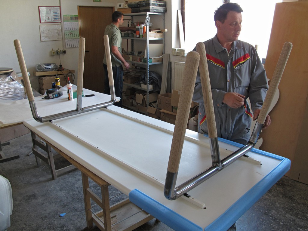 The carpenter involved in the production was also responsible for the final packing and assembly of the table so this is where we made test assemblies before going ahead with final painting and production delivery.