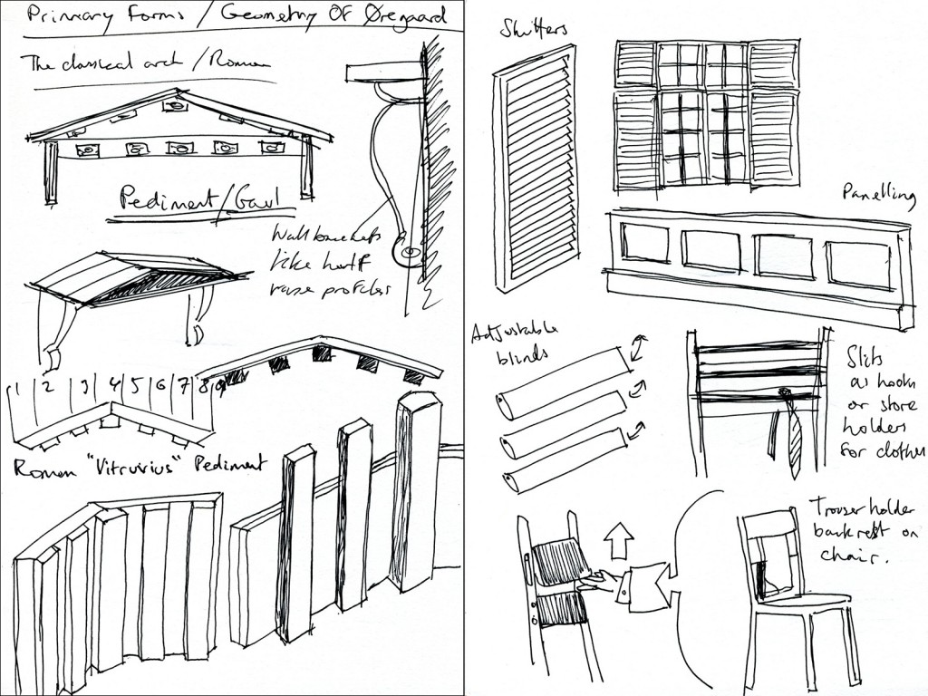 Sketch analysis of the forms and shapes that occur in the architecture of Øregaard Museum