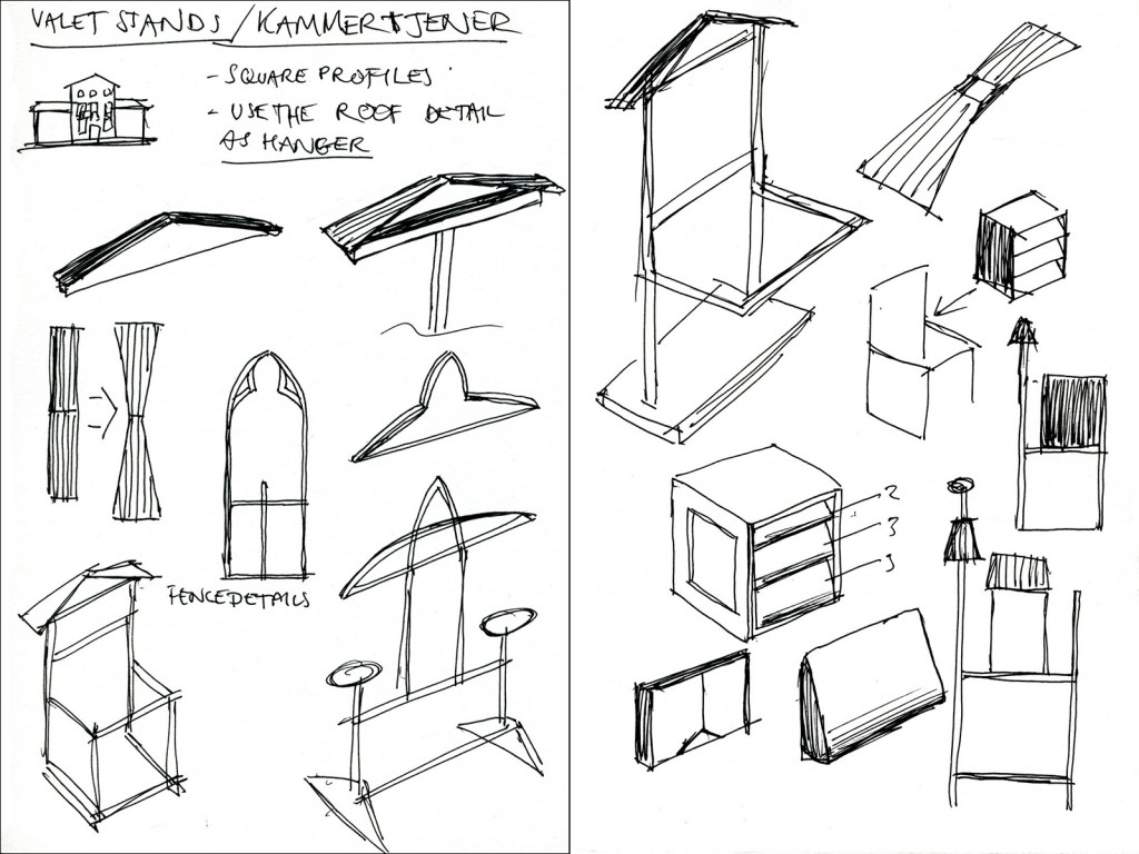 After choosing to design a clothing valet stand I started to try and construct a design from some of the basic forms I had observed.