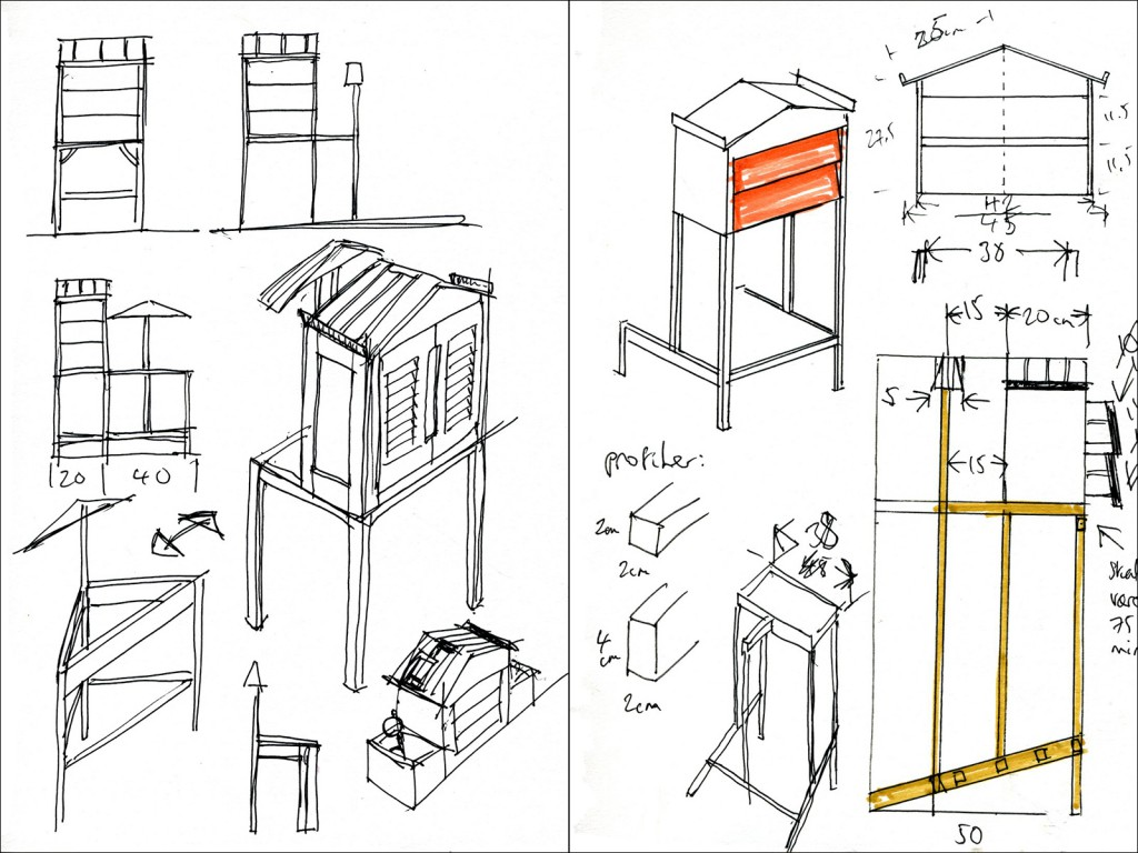 I finalised my design by reaching a decision to make a light and tall structure that would combine open hangers for clothes and closed compartments for valuables.