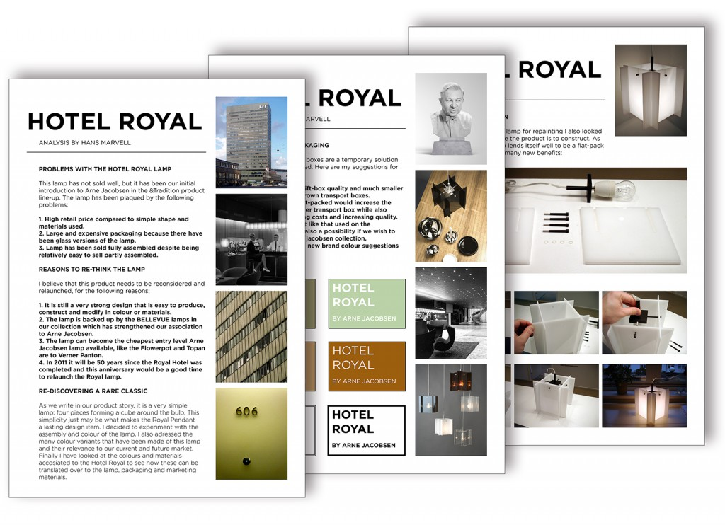 Production analysis report on the Hotel Royal Pendant